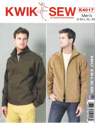 "Kwik Sew Sewing Pattern 4017 Men's Size S-XXL (Waist 28 - 46"") Zipper Front Raglan Sleeve Jacket"