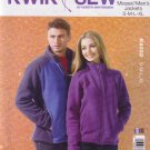 Kwik Sew Sewing Pattern 4032 K4032 Mens Misses Sizes XS-XL Zipper Fleece Jacket