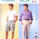"Kwik Sew Sewing Pattern 4045 Men's Size S-XXL (Waist 28 - 46"") Flat-Front Shorts Pants"