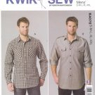 "Kwik Sew Sewing Pattern 4075 Men's Size S-XXL (Chest 34-52"") Button Front Shirts Roll-up Sleeves"