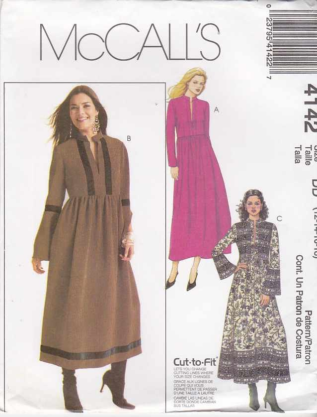 McCall's Sewing Pattern 4142 Misses Size 12-18 PulloverRaised Waist Long Sleeve Dress