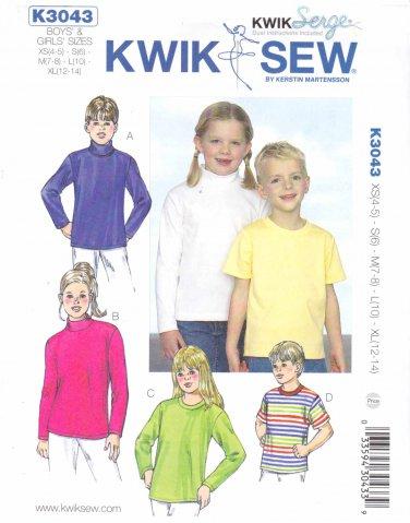 Kwik Sew Sewing Pattern 3043 Boys Girls Sizes XS-XL 4-14 Knit Classic T-shirts Long Short Sleeve