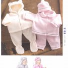 Kwik Sew Sewing Pattern 3127 Baby Sizes XS-XL Hooded Jackets Pants Hats