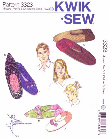 Kwik Sew Sewing Pattern 3323 K3323 Misses' Men's Children's All Sizes Slippers Optional Trims