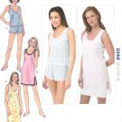 Kwik Sew Sewing Pattern 3342 Misses Sizes XS-XL (approx 8-22) Nightgown Sleep Top Shorts