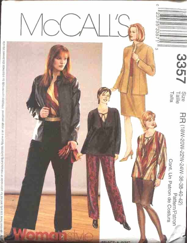 McCall�s Sewing Pattern 3357 Womans Plus Size 26W-32W Wardrobe Jacket Top Skirt Pants