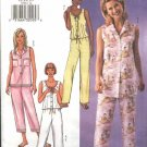 Butterick Sewing Pattern 3538 Misses Size 12-16 Easy Sleeveless Button Front Top Cropped Pants