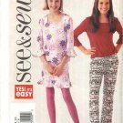 Butterick Sewing Pattern 3629 Girls Size 12-16 Easy Pullover Knit Top Straight Skirt Boot Leg Pants