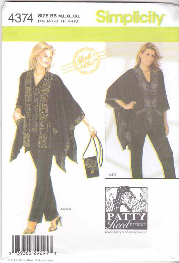 Simplicity Sewing Pattern 4374 Misses Size 14-26 Easy Top Pants Loose-fitting Jacket Purse