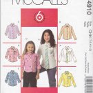 McCall's Sewing Pattern 4910 Girls Size 3-6 Easy Button Front Long Sleeve Shirts