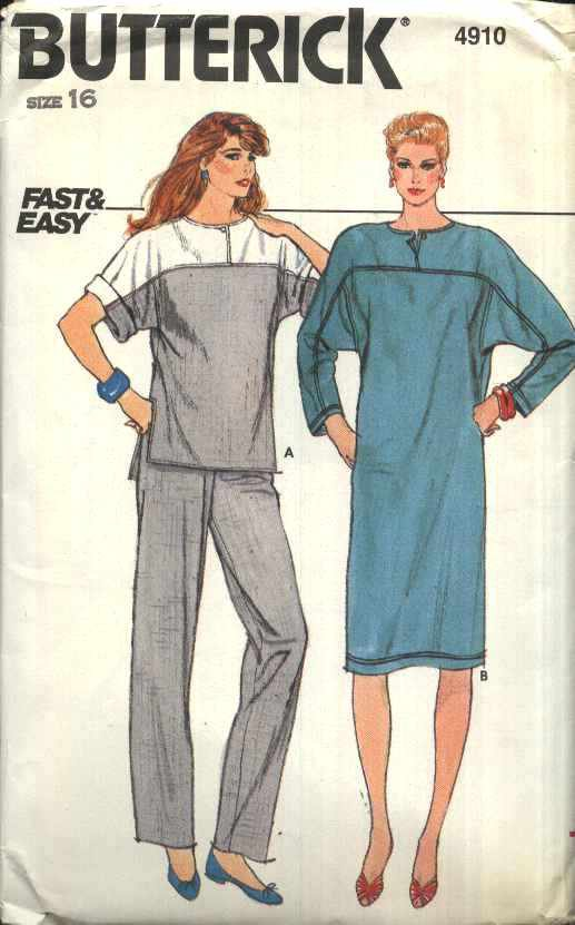 Butterick Sewing Pattern 4910 Misses Size 16 Easy Pullover Top Dress  Pull On Pants Sleeve Options