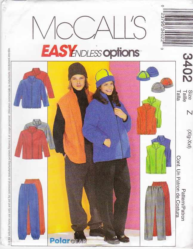 "McCall's Sewing Pattern 3402 M3402 Misses Mens Chest Size 42-48"" Easy Jacket Vest Pants Hat"