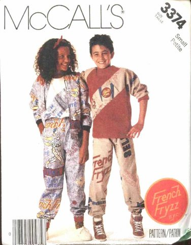 McCall's Sewing Pattern 3374 Boys Girls Size 7 Lined Jacket Pullover Top Pull On Pants