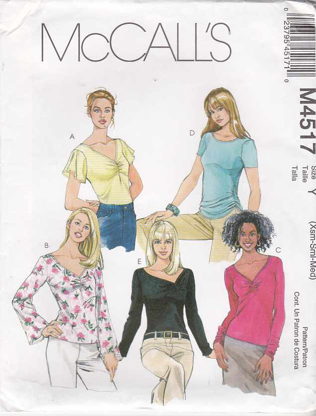 McCall�s Sewing Pattern 4517 M4517 Misses Size 4-14 Pullover Knit Tops Neck Sleeve Variations