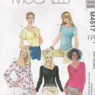 McCall's Sewing Pattern 4517 M4517 Misses Size 4-14 Pullover Knit Tops Neck Sleeve Variations