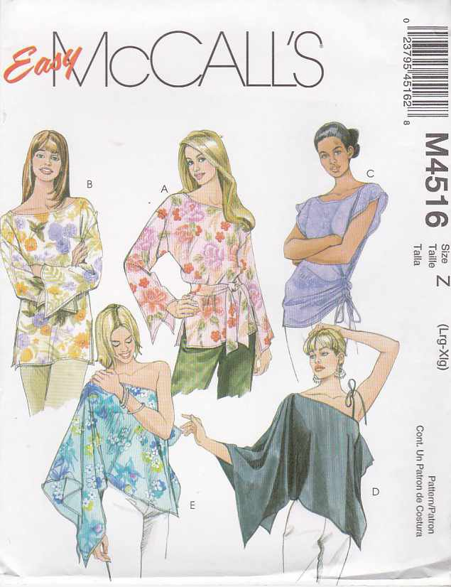 McCall's Sewing Pattern 4516 Misses Size 16-22 Easy Loose-Fitting Tops