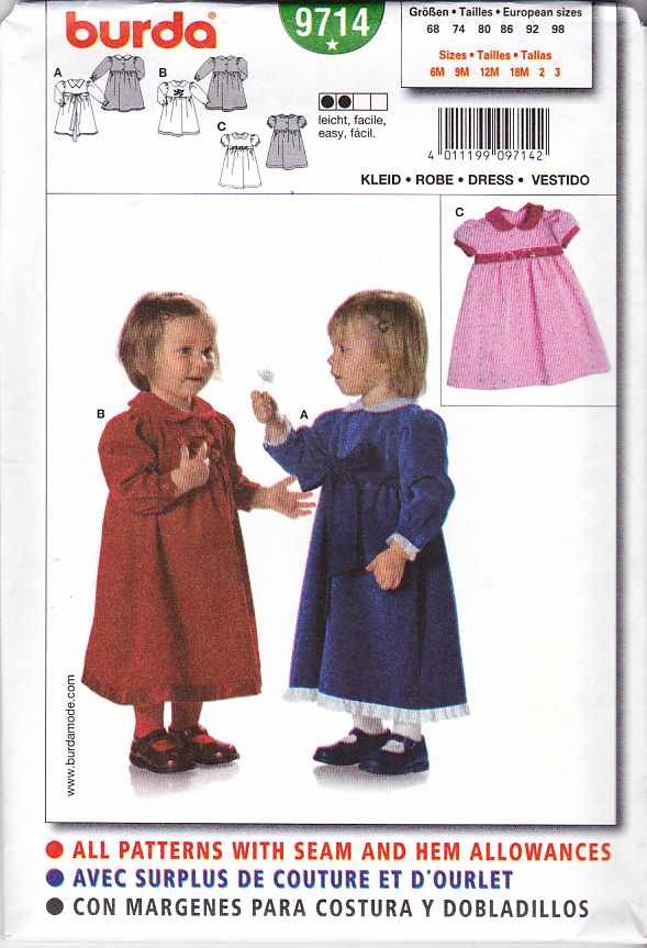 Burda Sewing Pattern 9714 Girls' Size 6Month - 3T Easy Dress Sleeve Length Options