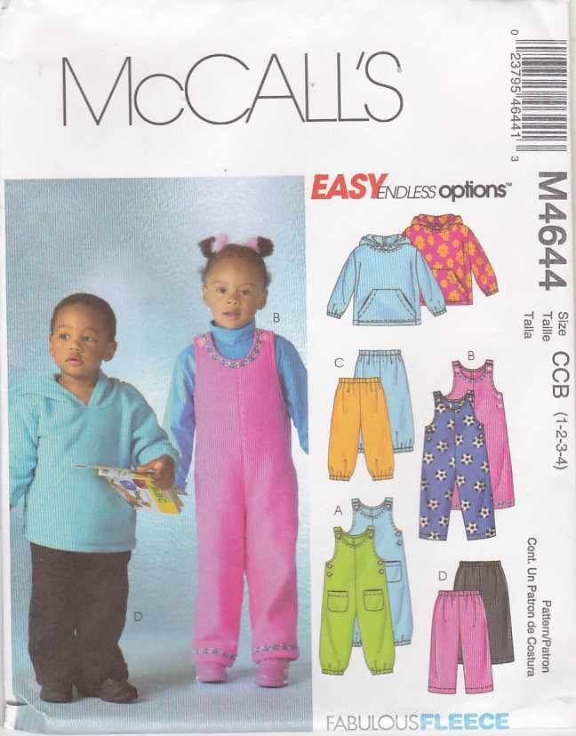 McCall's Sewing Pattern 4644 Boys Girls Size 1-4 Easy Overalls Jumpsuit Top Pants Hooded Jacket