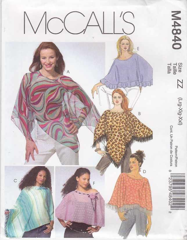 McCall's Sewing Pattern 4840 Misses Size 16-26 Summer Lightweight Poncho Capelet