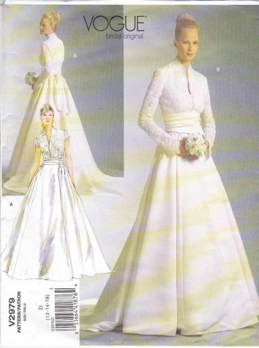 Vogue Sewing Pattern 2979 Misses Size 12-14-16 Bridal Original Wedding Gown Dress Train Sash