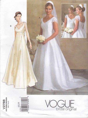 Vogue Sewing Pattern 2788 Bridal Original Misses Size 6-8-10 Wedding Dress Bridal Gown Formal