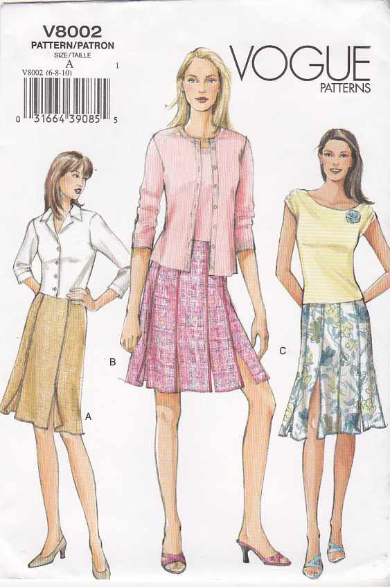 Vogue Sewing Pattern 8002 Misses Size 12-14-16 Easy Fitted Straight Skirt Two styles