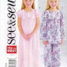 Butterick Sewing Patterns 4005 Girls Sizes 2-5 Easy Nightgown Pajamas Sleeve Options