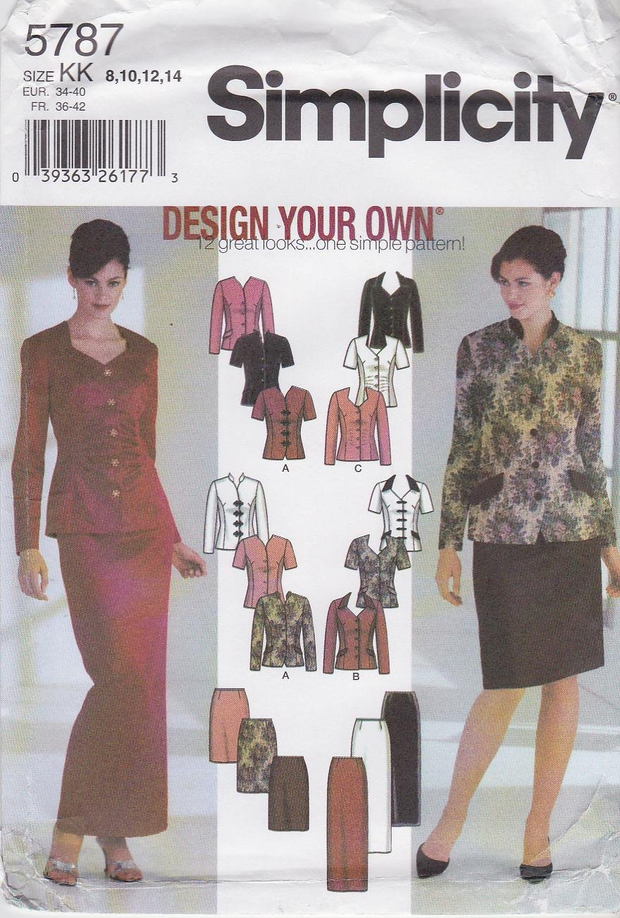 Simplicity Sewing Pattern 5787 Misses Size 8-14 Formal Business Long Short Skirts Jacket Suits