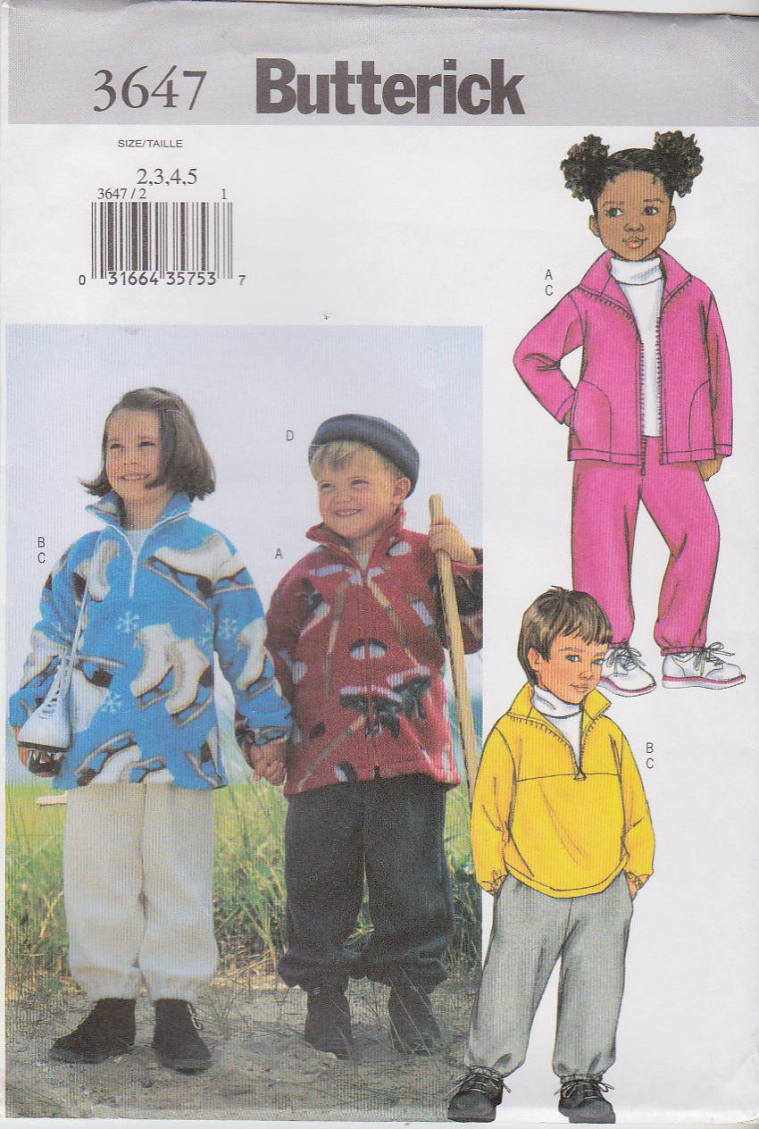 Butterick Sewing Pattern 3647 Boys Girls Size 2-5 Easy Zipper Front Jacket Pullover Top Pants Hats