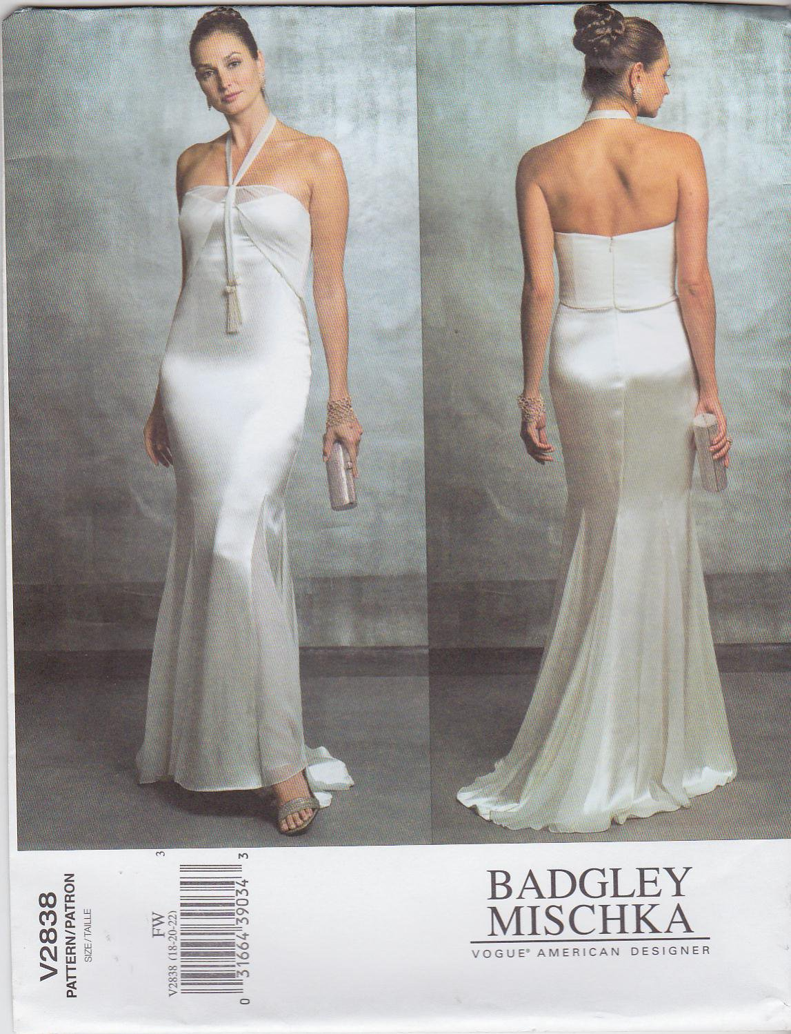Vogue Sewing Pattern 2838 Misses Size 18-20-22 Badgley Mischka Evening Gown Formal Dress