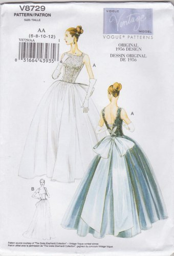 Vogue Sewing Pattern 8729 Misses Size 6-12 Vintage 1956 Formal Sleeveless Dress Underskirt
