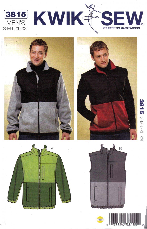 Kwik Sew Sewing Pattern 3815 Men's Sizes S-XXL Knit Zipper Front Jacket Vest