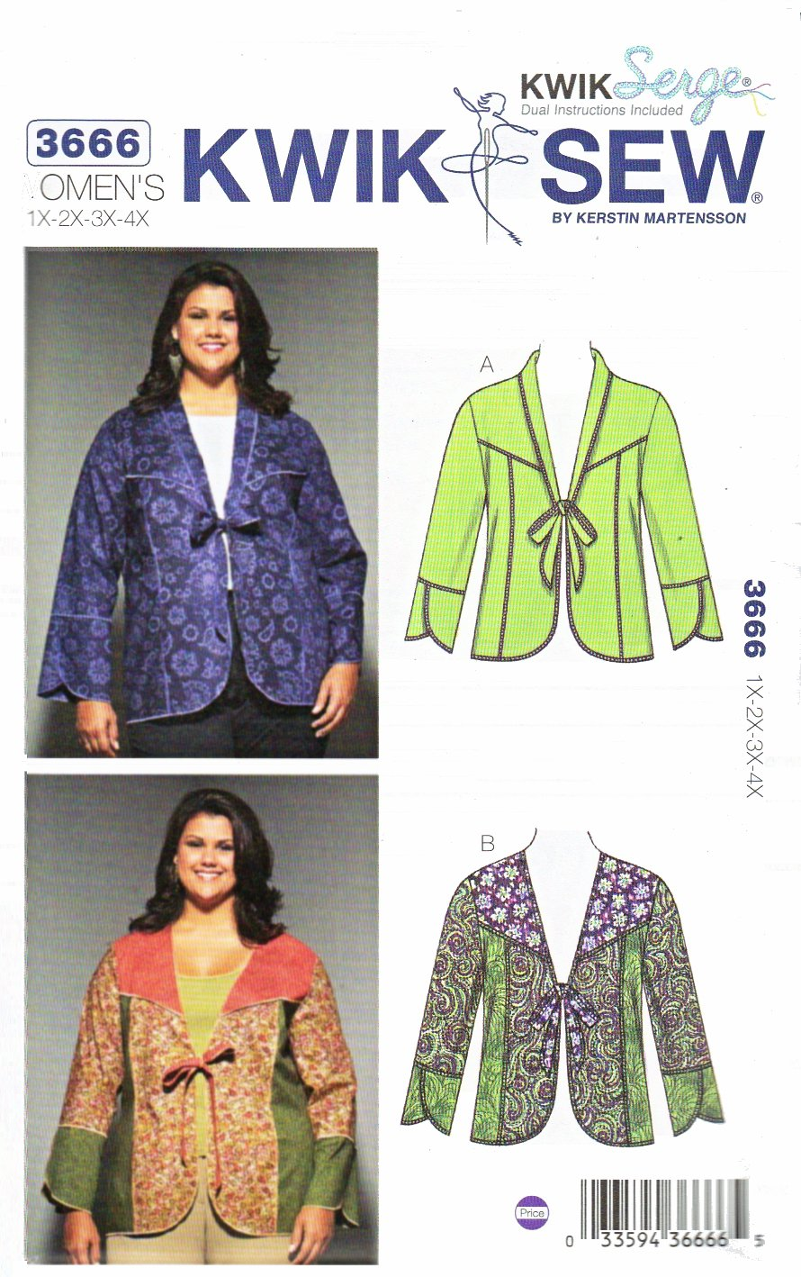 Kwik Sew Sewing Pattern 3666 Women's Plus Sizes 1X-4X Color Block Seam Detail Jacket