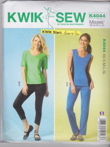 Kwik Sew Sewing Pattern 4044 Misses Sizes XS-XL (approx 8-22) Knit Tops Shorts Pants