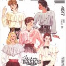 McCall's Sewing Pattern 4517 Misses Size 14 Fashion Basic Pullover Blouse Draped Collar Options