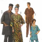 "Butterick Sewing Pattern 5725 Misses Mens Chest Size 34-44"" Tunic Caftan Pants Hat Headwrap"