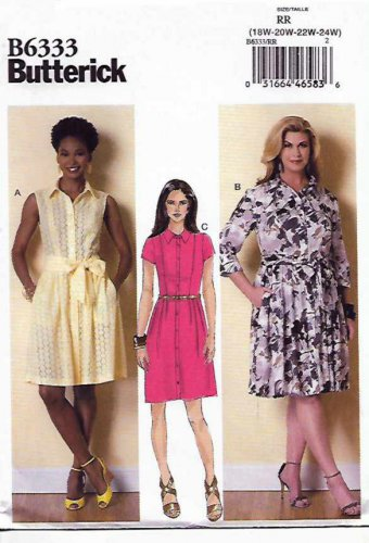 Butterick Sewing Pattern 6333 Womens Plus Size 18W-24W Easy Shirtwaist Button Front Dress