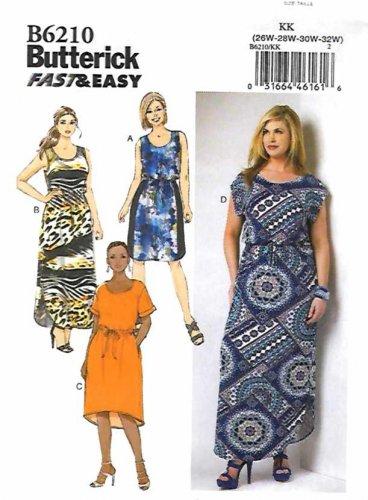 Butterick Sewing Pattern 6210 B6210 Womens Plus Size 26W-32W Easy Dress Sleeve Options