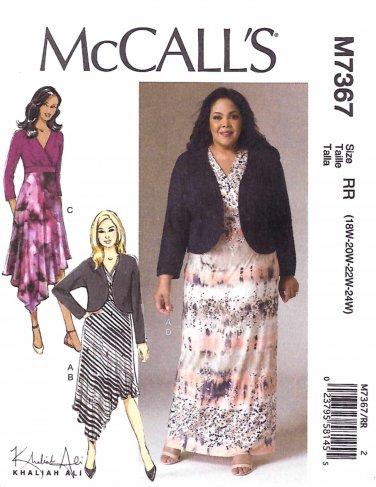 McCall's Sewing Pattern 7367 Womens Plus Sizes 18W-24W Khaliah Ali Dress Shrug Bolero