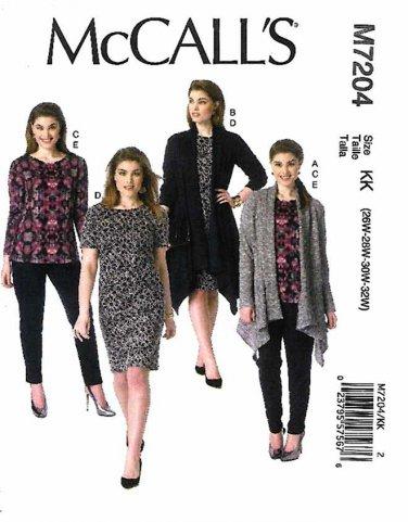 McCall's Sewing Pattern 7204 Women's Plus Size 18W-24W Knit Wardrobe Jackets Top Dress Pants
