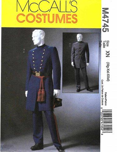 """McCall's Sewing Pattern 4745 Men's Chest Size 46-56"""" Civil War Uniforms Pants Jacket Coat"""