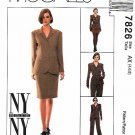 McCall's Sewing Pattern 7826 Misses Sizes 4-8  NYNY Suit Lined Button Front Jacket Skirt Pants