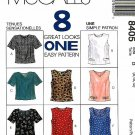 McCalls' Sewing Pattern 8405 Misses Sizes 8-12 Easy Tops Sleeveless Short Sleeve Button Back