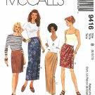 McCall's Sewing Pattern 9416 Misses Sizes 8-12 Easy Mock Front Wrap Straight Skirt