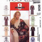 McCall's Sewing Pattern 9636 Misses Sizes 4-14 Easy Shawl Collar Wrap Front Robe Bathrobe