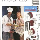 McCall's Sewing Pattern 2233 Misses Mens Size 34-36 Chef's Cook's Uniform Jacket Shirt Pants Apron
