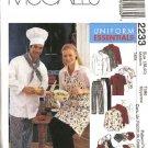 McCall's Sewing Pattern 2233 Misses Mens Size 34-36 Chef's Cook's Uniform Jacket Shirt Pants Apron