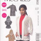 McCall's Sewing Pattern 6802 Misses Size 8-16 Easy Knit Cardigans Optional Hood Sleeves