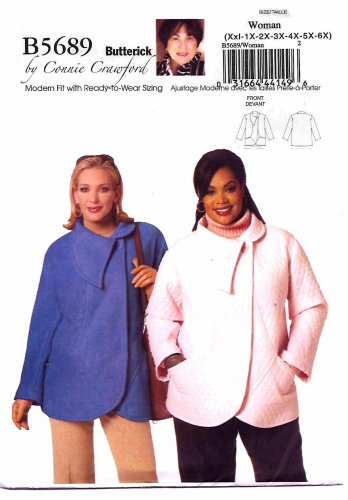 Butterick Sewing Pattern 5689 Womens Plus Size 18W-44W Easy Connie Crawford Outdoor Jacket