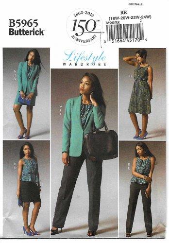 Butterick Sewing Pattern 5965 Womens Plus Size 18W-24W Easy Lifestyle Wardrobe Jacket Dress Skirt